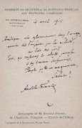 Anatole France - Autographe - imprimerie de la renaissance.