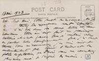 Saint-Cyr-sur-Loire - Anatole France à La Béchellerie le 13 décembre 1923 - Carte postale photo autographe, verso.