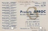 Saint Cyr sur Loire - Usine de Portillon - Produits SPROC - Carte de représentant.