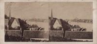 Saint Cyr sur Loire - Photo stéréoscopique - Vue du clocher de St-Cyr et de la ville de Tours prise des coteaux de St-Cyr (17 x 8 cm).