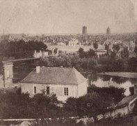 Saint Cyr sur Loire - Photo stéréoscopique - Vue de la ville de Tours prise des coteaux de St-Cyr - Détail (7,5 x 7 cm).