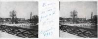 Saint Cyr sur Loire - Photo stéréoscopique sur plaque de verre (10,5 x 4,5 cm) - La neige sur le pont de fil de St-Cyr - 8 janvier 1918.